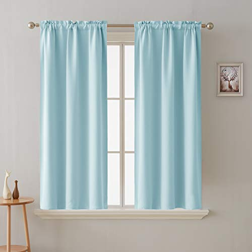 Deconovo Room Darkening Curtain Thermal Insulated Blackout Curtains for Kids Room Baby Blue 38 x 63 Inch 2 Panels (Baby Blue Kitchen Curtains)