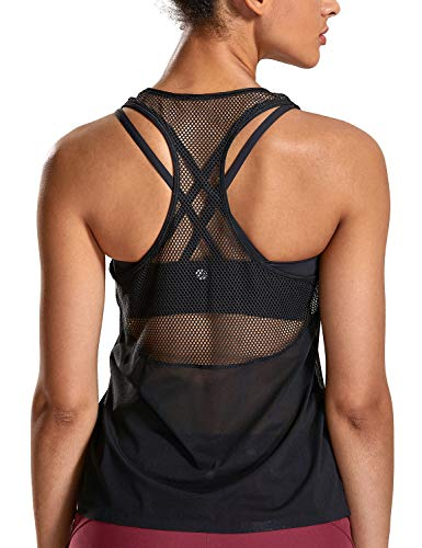 - CRZ YOGA Women's Activewear Lightweight Mesh Workout Tank Top Running Sport Shirt Black M(8/10)