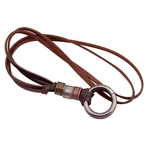 BNQL Eyeglass Holder Necklace O Ring Adjustable Leather Strap Necklace (A) (Leather Necklace Holder Glasses)