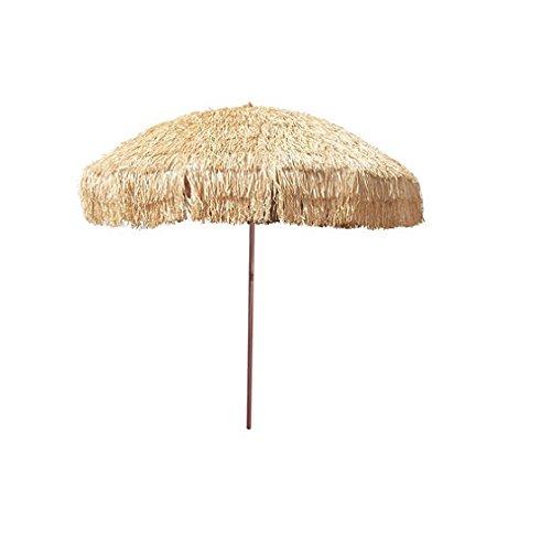 (Bayside21  8' Hula Thatched Tiki Umbrella Natural Color)