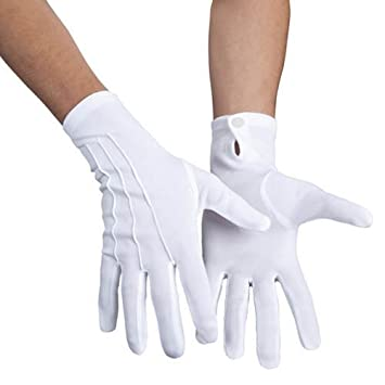 668490aba70fb5 PARTY DISCOUNT Handschuhe mit Knopf & Biesen, weiß: Amazon.de: Spielzeug