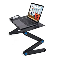 Note: When you adjusting the height and angle of each leg , please make sure left and right leg at the same horizontal line , so your desk can stand well.The computer board and mouse board is made of ABS,lightweight, Sturdy and Durable. The s...