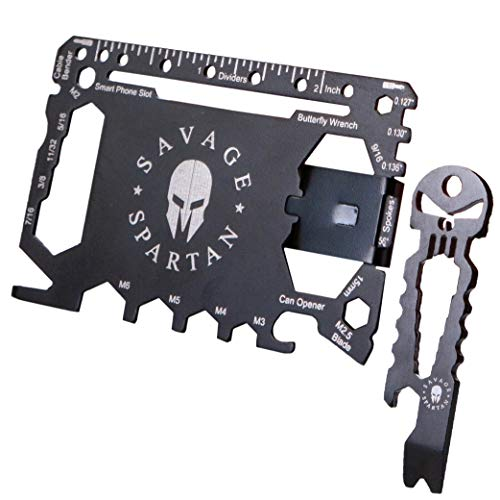 (Savage Spartan Multitool Wallet | 36 in 1 Multifunctional Toolcard Pro with Credit Card Holder Money Clip & Sleek Minimalist Stainless Steel Skull Keychain Pocket Survival Multi-Tool for Men)