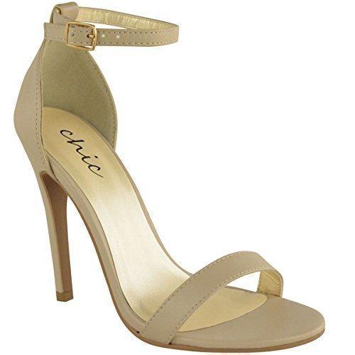 Sandali da Donna Tacco Alto a Stiletto Doppio Cinturnino - Eu 36, Nero Lucertola