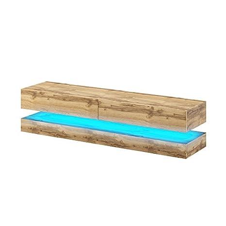 Selsey Aviator - TV-Board in Schwebeoptik / TV-Hängeschrank / Fernsehschrank Sonoma Eiche matt mit LED blau, 140 cm