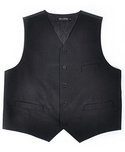Black Full Back Tuxedo Vest (Men's Poly Twill Tuxedo Vest Full Back Vest , Large, Black)