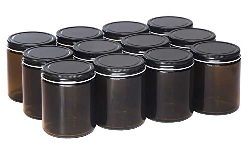 North Mountain Supply 9 Ounce Amber Glass Straight Sided Mason Canning Jars - with 70mm Black Metal Lids - Case of 12 ()