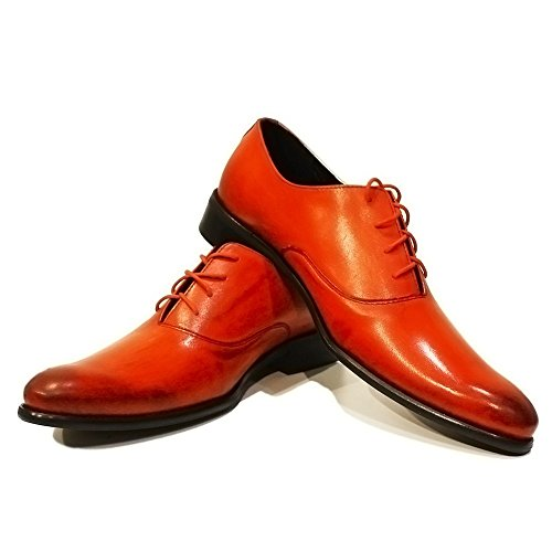 PeppeShoes Modello Giacio - Handmade Italiano da Uomo in Pelle Rosso Scarpe da Sera - Vacchetta Pelle Verniciata a Mano - Allacciare