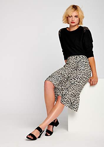 LOLALIZA - Jupe Fluide lopard - Noir - Tailles 36-44