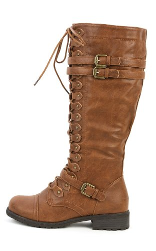 Wild Diva Timberly-65 Women's Fashion Lace Up Buckle Knee High Combat Boots - stylishcombatboots.com