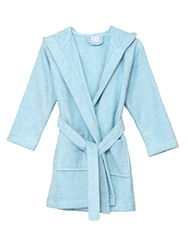 (TowelSelections Big Girls Robe, Kids Hooded Cotton Terry Bathrobe Cover-up Size 8 Aquamarine)