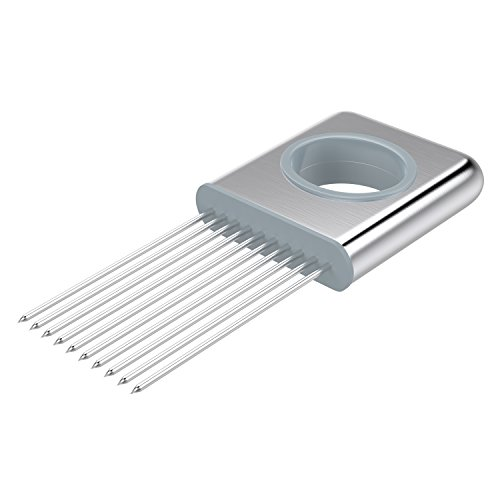 UPC 782301280892, Nuovoware Onion Holder, All-In-One Stainless Steel Easy Onion Holder Slicing Guide Vegetable Tomato Lemon Meat Holder Slicer Tools Cutter, Cutting Kitchen Gadget, Silver