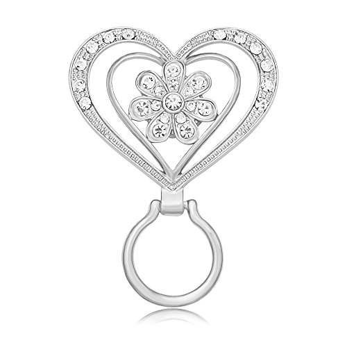 MANZHEN New Crystal Flower Brooch Magnetic Clip Holder Double Heart Magnetic Eyeglass Holder Brooch (Silver) by MANZHEN