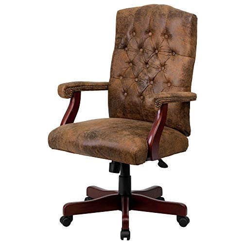 - Delacora 802-BRN-GG 26 Inch Wide Suede Executive Swivel Chair with Arms
