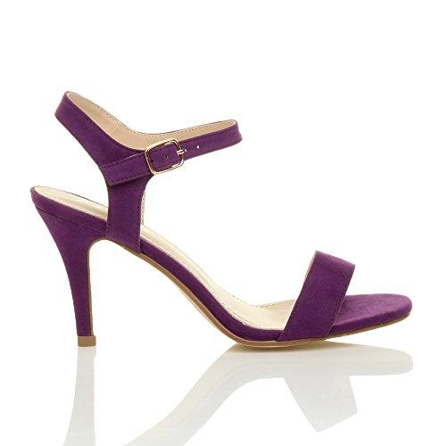 Pourpre Chaussures Pointure Haute Lanières Boucle Daim Violette Femmes Talon Fête à Élégant Sandales p8a4PWB