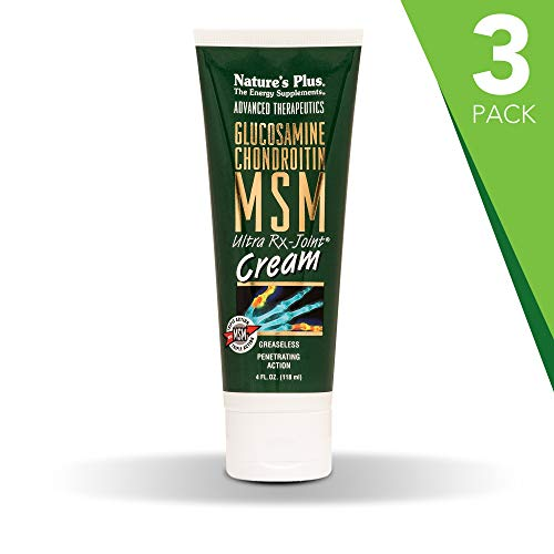 Natures Plus Glucosamine/Chondroitin/MSM Ultra Rx-Joint Cream (3 Pack) - 4 fl oz Tube - High Potency Joint Support Cream with Methlysulfonylmethane Zinc, Copper, Magnesium - Greaseless