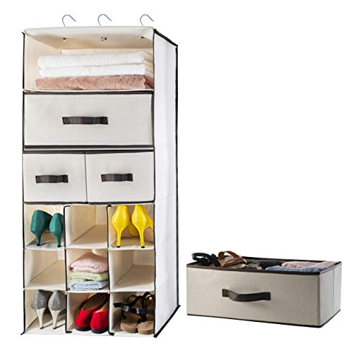 """Lovotex 3 Shelf Foldable Closet Hanging, Space Saver Hanging Dresser with 2 Large and 2 Small Drawers + 9 Shoe Slots - for Shoes, Clothes, Underwear, Socks and Towels 40"""" H 18"""" W 12.3"""" D"""