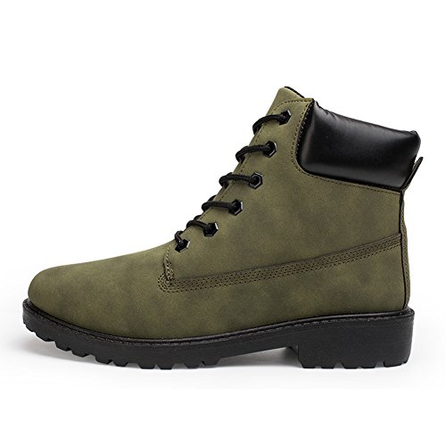 Mujer Retro Botas Nieve Martin Botas - hibote Invierno Anti-deslizante Lazada Zapatos Botas de Trabajo Ejercito Verde