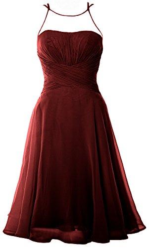 MACloth Elegant Illusion Short Cocktail Dress Chiffon Wedding Party Formal Gown Burgundy
