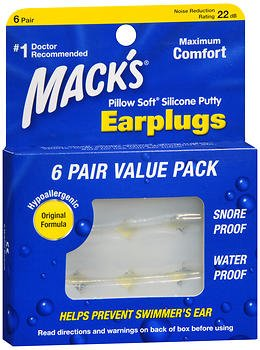 - Mack's Pillow Soft Earplugs White 6 Pairs (Pack of 5)