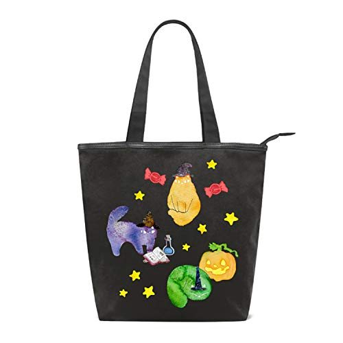 Canvas Shopping Tote Bag Halloween Cats Vignette Grocery Bag