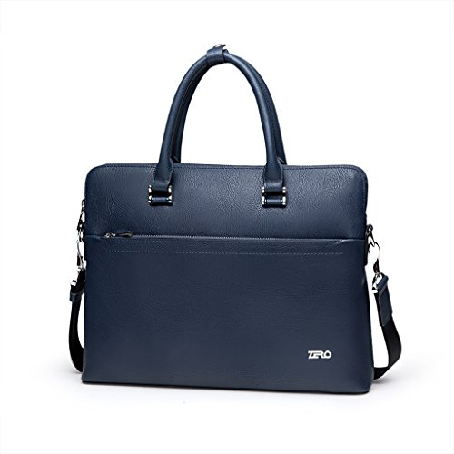 ZRO Men's Portfolio Briefcase Messenger Bag and Shoulder Bag D Blue