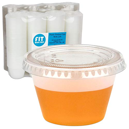 [250 Pack] 4 oz BPA Free Plastic Portion Cup with Clear Lids Disposable Jello Shots Sauce Condiment Souffle Dressing Mini Containers