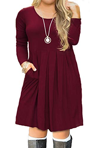FOLUNSI Women's Plus Size Casual Long Sleeve Pleated T Shirt Dress with Pockets Wine Red 2XL