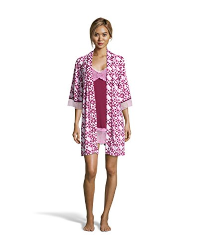 Nanette Nanette Lepore Womens Chemise Nightgown and Floral Belted Robe Pajama Set Raspberry X-Large by Nanette Lepore (Image #3)