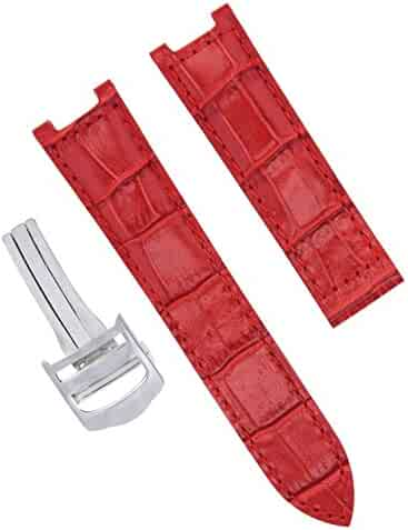 00ad5dec0 LEATHER WATCH STRAP BAND CLASP FOR CARTIER PASHA GMT 1032 2113 20MM RED SS  #2PC