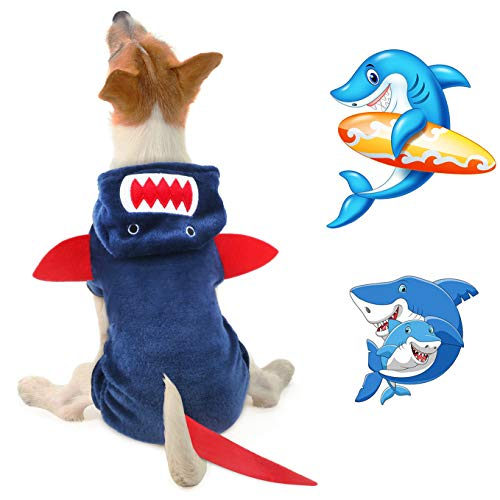 Idepet Dog Clothes Small Pet Costume Halloween Dinosaur Shark Costume Dog Clothing Puppy Outfits Funny Apparel Dressing up Party Halloween Christmas