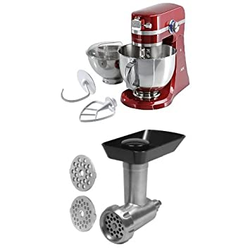Pack AEG KM4000 - Robot de cocina con motor de 1,4 caballos de potencia, color rojo + AEG AUM MG - Accesorio picador de carne: Amazon.es: Hogar
