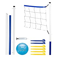 Franklin Sports Volleyball Set - Beach and Backyard Volleyball Net Set - Portable Volleyball Net and Ball Set with Poles and Ground Stakes - Recreational