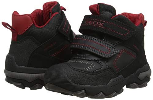Geox Jungen J BULLER Boy B ABX E Hohe Sneaker, Schwarz (Black/Dk Red C0260), 24 EU 7