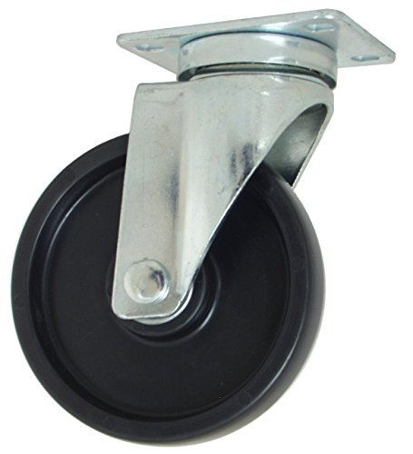"RWM Casters VersaTrac 27 Series Plate Caster, Swivel, Polyolefin Wheel, Ball Bearing, 300 lbs Capacity, 5"" Wheel Dia, 1-1/4"" Wheel Width, 6-5/16"" Mount Height, 3-3/4"" Plate Length, 2-5/8"" Plate Width from RWM Casters"