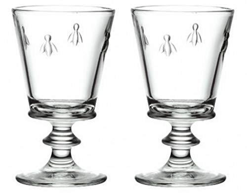 La Rochere Classic Wine glass Set of 2 - Napoleon Bee 12 oz tasting goblet - Ideal for Red or White wine, Water, Milk, Ice Tea, Juice - Great birthday Housewarming gift - Durable everyday glassware ()