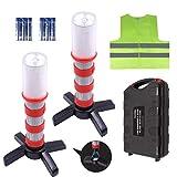 Securityman LED Road Flares (DOT Approved 2 Pack) for Roadside Emergency & Hazard Light Kit for Warning Traffic   Magnetic Base, Waterproof Case, Safety Vest for Cars and Trucks