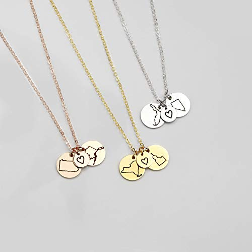SAME DAY SHIPPING before 12pm Best Friend Gifts Long Distance Friendship Jewelry State Necklace Charm Necklaces Custom Necklace Best Gifts Name Rose Necklace - CN-LDS (Long Distance Best Friend Necklaces)