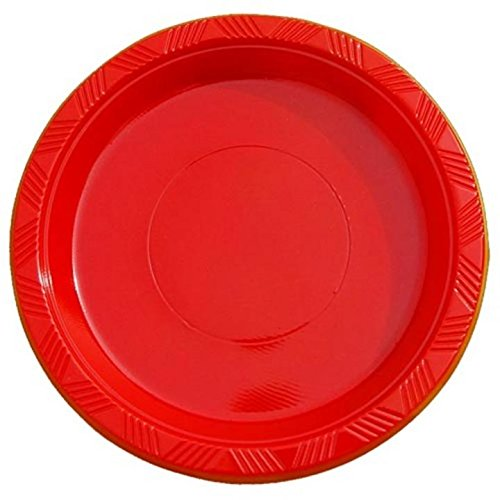 Red Plastic Plates (Exquisite 9 Inch. Red plastic plates - Solid Color Disposable Plates - 50 Count)