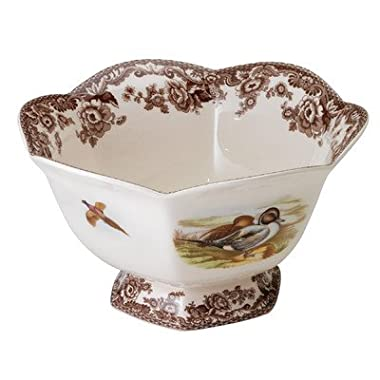 Woodland Lapwing and Quail Hexagonal Footed Serving Bowl