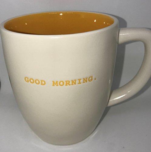 RARE Rae Dunn by Magenta GOOD MORNING in Halloween Orange Typeset letters with Pumpkin orange interior coffee tea mug cup]()