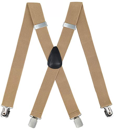 Suspenders for Men - Heavy Duty Strong Clips Adjustable Elastic X Back Braces Big and Tall Men's Suspenders