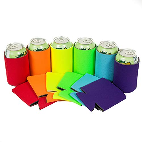 QualityPerfection 12 Multi Beer Blank Can Coolers Sleeves,Soft Drink,Economy Bulk,Collapsible Insulator,Perfect 4 BBQ,Weddings,Parties(12,Purple,Turquoise,Green Lime,Yellow,Orange,red) ()