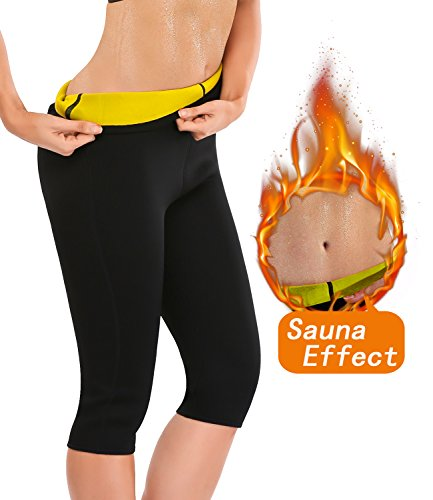 9923d0dfdb5e5 LAZAWG Slimming Sauna Sweat Pants Neoprene Hot Thermo Capri Workout Body  Shaper