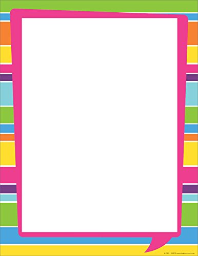 (Barker Creek Designer Computer Paper - Happy Bright Stripe, 8-1/2 x 11