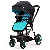 Cynebaby Stroller Bassinet Reversible Pram Strollers Infant All Terrian Baby Carriage City Select Vista Toddler Pushchair for Girl n Boy add Net Cover (Ocean Blue)