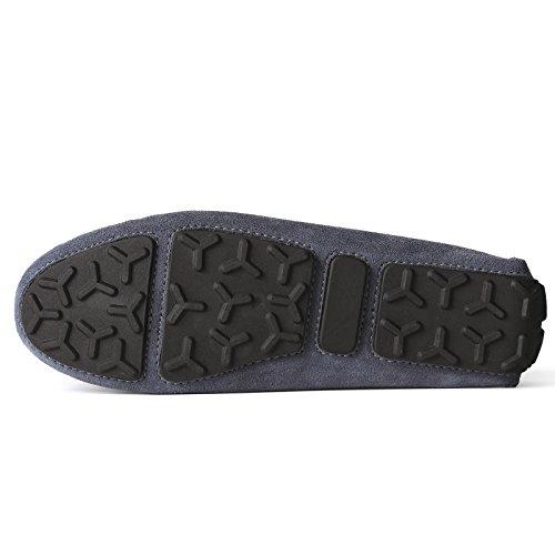 Casuales Hombre de Oscuro Mocasines Hombre Shenduo Planos Verano Mocasines Gris Zapatos para Loafers Zapatos Cuero U6nxZE