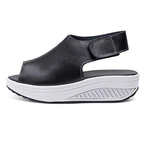 Juleya Women Summer Sandals Ladies Wedge High Heel Sandals Fish Mouth Buckle Ankle Platform High Heels Peep Toe Shoes Black EtqhbAg