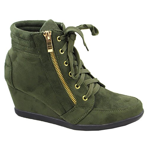 Heel Top Platform High Sneakers Women Bootie SNJ Wedge Shoes Trends 1 Lace Up Ankle Olive wWYE5I5qA