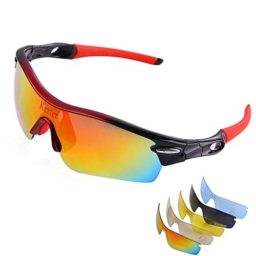 Kerter Polarized Sports Sunglasses Driving Glasses UV400 with 5 Interchangeable Lenes for Men Women Cycling Running Driving Fishing Hiking Golf Baseball Glasses Windproof Anti-Fall (Red + Black)